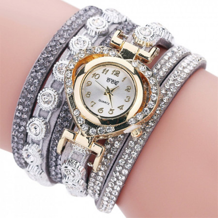 Poze Ceas dama elegant, curea lunga Crystal Heart Full crystals, gray - Cadoulchic.ro