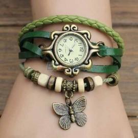 Poze Ceas dama vintage pandant fluturas, verde