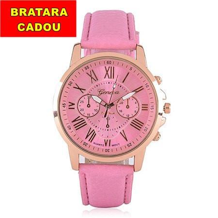 ceas dama geneva ieftin roz cu auriu