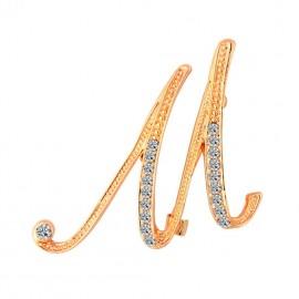 Eleganta brosa cu cristale - litera - M