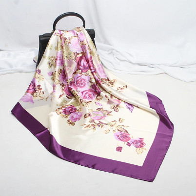 Poze Esarfa eleganta din matase satinata, model floral, multicolora, model 19