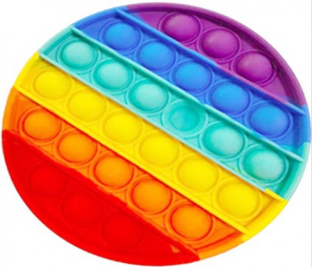 Jucarie Pop It, antistres, forma rotunda, curcubeu, diametru 13 cm