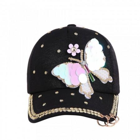 Poze Sapca dama, inchidere reglabila, design fluture, cu perlute si tinte, neagra