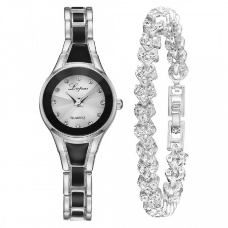 set ceas dama cu bratara negru cu argintiu