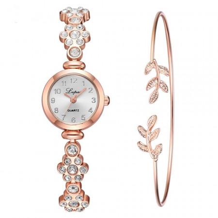 Poze Set Ceas dama elegant cu cristale + bratara, model 2