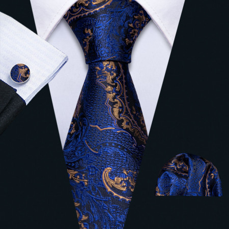 Poze Set cravata + batista + butoni - matase naturala 100% - model 14
