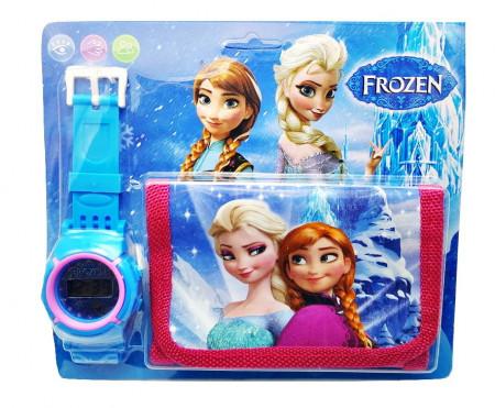 Poze Set frumos Ceas pentru fetite cu portofel, tip Frozen