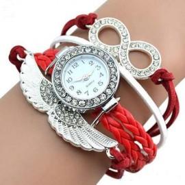 Poze Ceas dama cu cristale si ornamente metalice (aripi de inger) - red