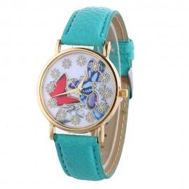 Ceas dama Each hour a flower & butterflies - bleu verde