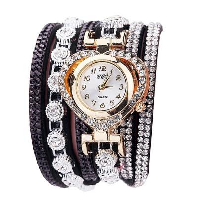 ceas dama ieftin cu cristale, curea neagra