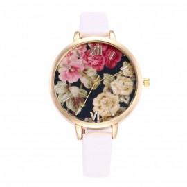 Poze Ceas dama finut, model floral - alb