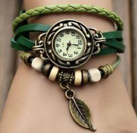 Poze Ceas dama ieftin pandantiv frunza, verde