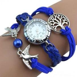 Poze Elegant ceas de dama cu copacul vietii si pasari, albastru