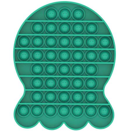 Poze Jucarie Pop It, antistres, forma caracatita verde, 14 x 13 cm