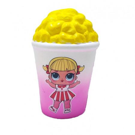 Poze Jucarie Squishy, model pahar cu popcorn, design fetita cu rochita alb cu rosu
