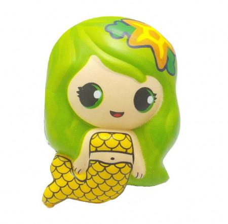 Poze Jucarie Squishy, model sirena, verde cu galben