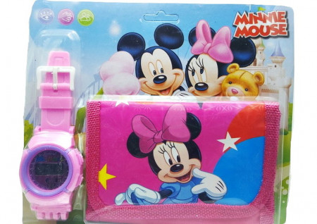 Poze Set Ceas pentru fetite cu portofel, tip Minnie Mouse