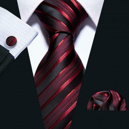 Poze Set cravata + batista + butoni - matase naturala 100% - model 7