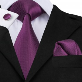 Poze Set cravata + batista + butoni - matase naturala 100%