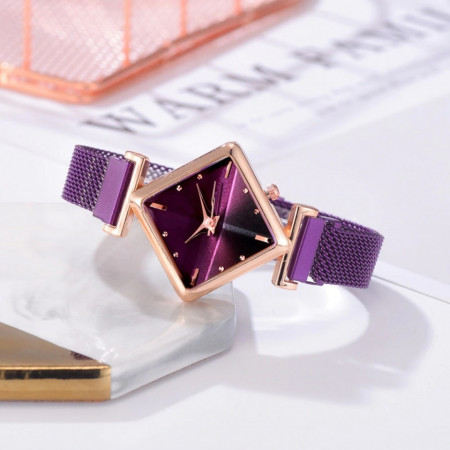Poze Ceas dama elegant bratara magnetica, Rombus Style, purple