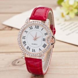 Ceas dama fashion cu cristale - rosu