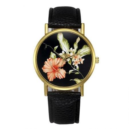 Poze Ceas dama model flori exotice - negru