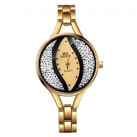 Poze Ceas dama Soxy, Crystal Eye, elegant cu cristale, auriu