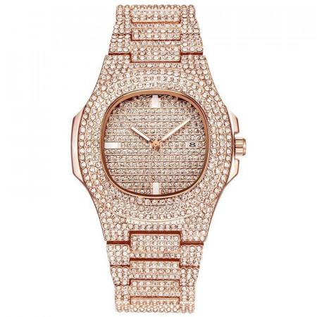 Poze Ceas dama Square Full Crystals, cu data - rose golden + cutie cadou