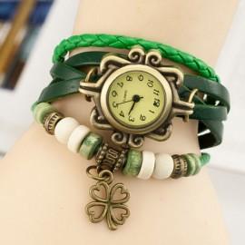 Poze Ceas dama vintage ieftin cu pandantiv trifoi - verde