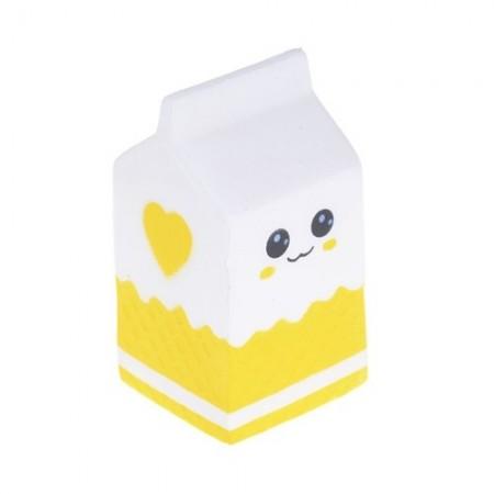 Jucarie Squishy parfumata, model cutie de lapte - galbena