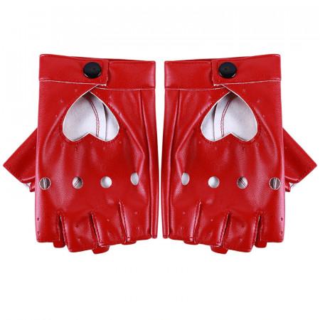 Poze Manusi chic, cu perforatii si decupaj inima, half-fingers, piele ecologica, rosii