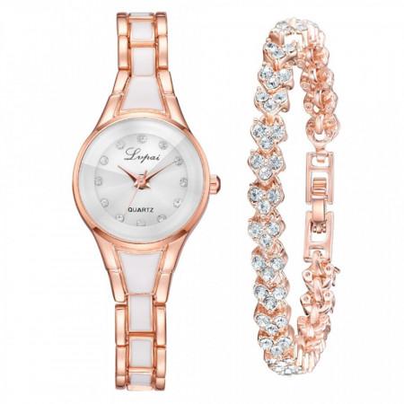 set ceas de dama cu bratara, alb cu auriu