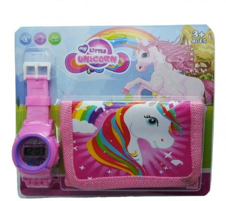 Poze Set Ceas pentru fetite cu portofel, My Little Unicorn, model 1