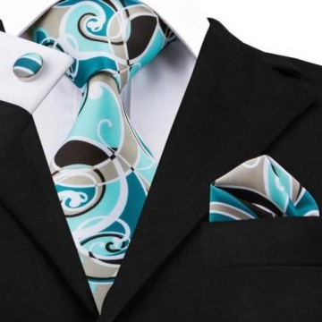 Poze Set cravata + batista + butoni - matase naturala 100% - model 6
