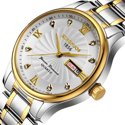 Poze Ceas barbatesc de lux Kingnuos, cu data dubla, argintiu cu auriu + cutie eleganta