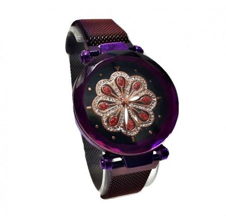 Poze Ceas dama bratara magnetica, cu cristale, floare stilizata, purple