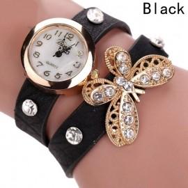 Ceas dama curea lunga Crystals & butterfly- black