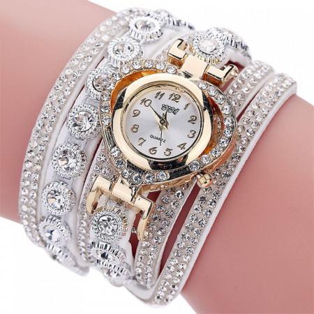 Poze Ceas dama elegant, curea lunga Crystal Heart Full crystals, alb - Cadoulchic.ro