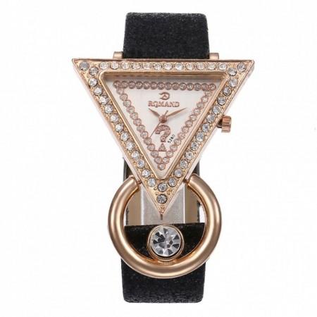 Poze Ceas dama elegant, Romand, cu cristale si curea sclipitoare, negru