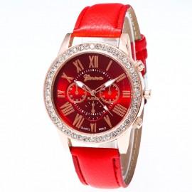 Poze Ceas dama Geneva, cu cristale, eleganta si stil - rosu