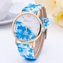 Ceas dama Geneva Platinum, flori bleu