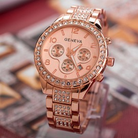 Poze Ceas Geneva Multi-crystals, afisaj data - rose gold