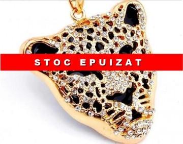 Poze Colier fashion cu pandant cap de leopard si cristale - Cadoulchic