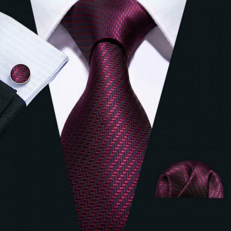 Poze Set cravata + batista + butoni - matase naturala 100% - model 10