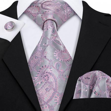 Poze Set cravata + batista + butoni - matase naturala 100%, tesatura Jaquard - model 26