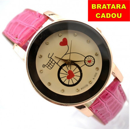 Poze Ceas dama Bicycle & Heart - rose - red