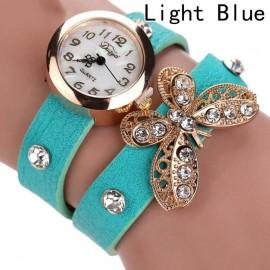 Poze Ceas dama curea lunga Crystals & butterfly-blue