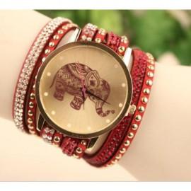 Ceas dama model elefant (simbolul norocului) - rosu