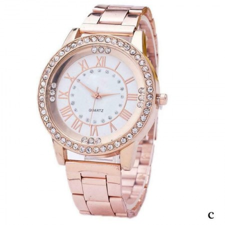 Poze Ceas dama Rose Golden Stylish Crystals + cutie eleganta cadou