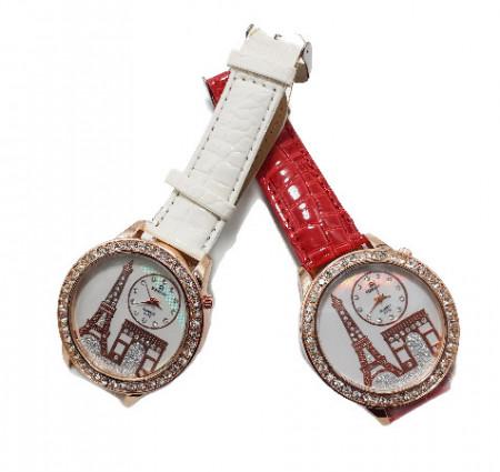 Poze Set 2 ceasuri dama cu cristale si model Turnul Eiffel, alb si rosu